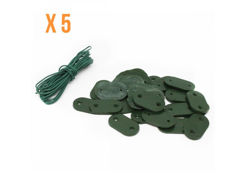 Lot de 5 kits de fixation pour brise vue, canisse anti-uv - 30 plaquettes + 4.20 m de fil - beige vert