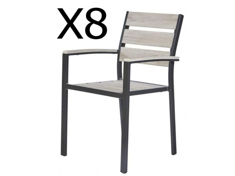Lot de 8 fauteuils de jardin empilables coloris anthracite - dim : 56 x 54 x h88 cm -pegane-