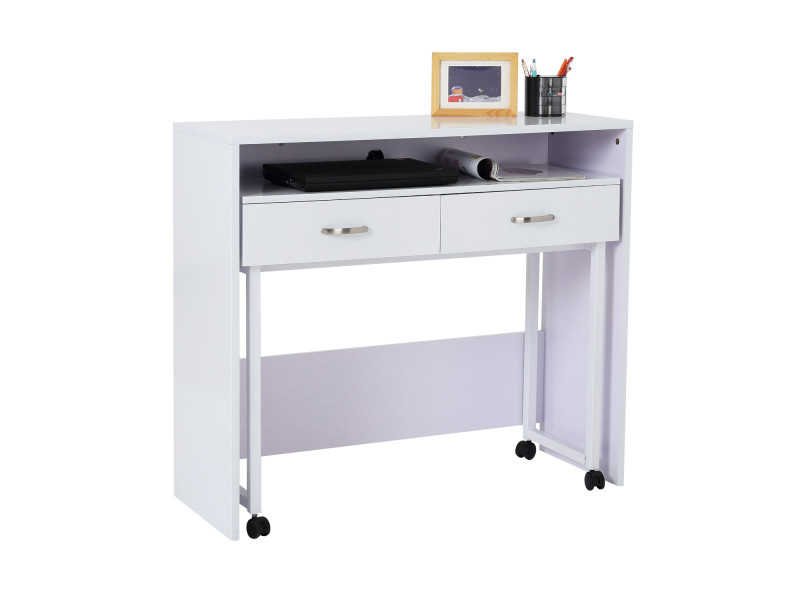 bureau console 2 en 1 style contemporain sur roulettes multi rangement blanc 21wt vente de. Black Bedroom Furniture Sets. Home Design Ideas