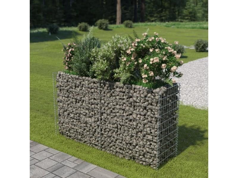 Moderne jardinage edition luanda jardinière à gabion acier galvanisé 180 x 50 x 100 cm