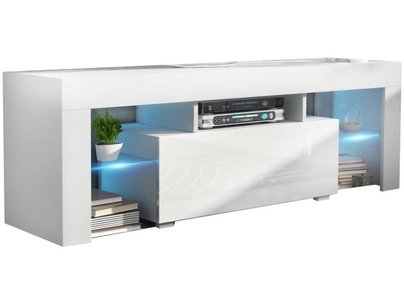 Meuble tv 130 cm blanc led rgb