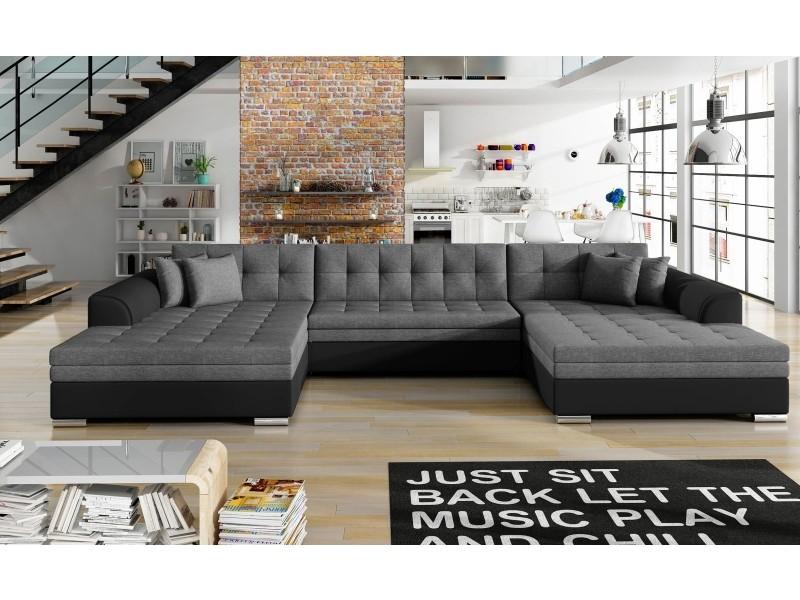 Canapé d'angle convertible vento simili noir et tissu gris foncé