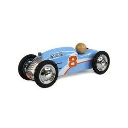 Petite voiture en métal rocket bleue