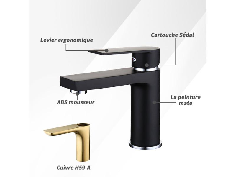 Robinet lavabo noir robinet salle de bain moderne mitigeur en laiton ...
