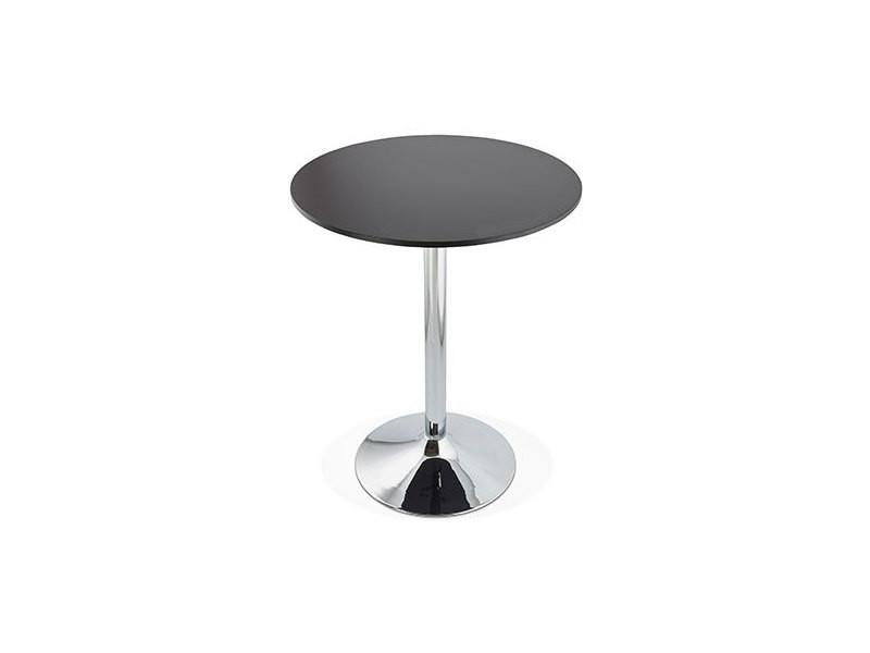 Table de bar ronde 90 cm en bois noir et métal - barman