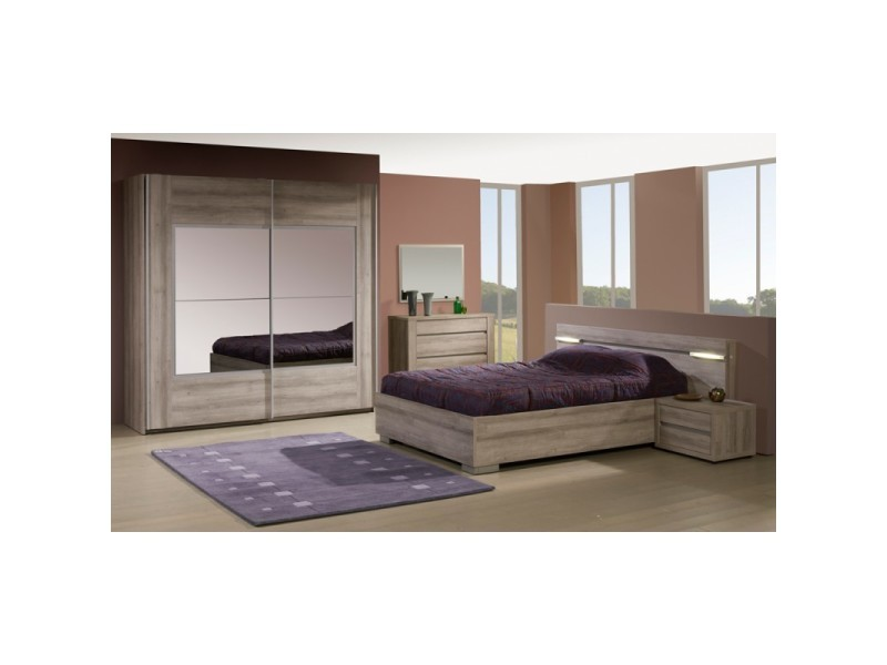 Chambre adulte compl te 140 190 vita l 140 x l 190 - Chambre a coucher complete conforama ...