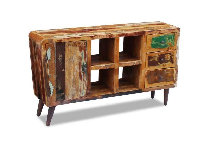 Esthetique armoires et meubles de rangement serie nicosie buffet bois de récupération massif 150 x 40 x 86 cm