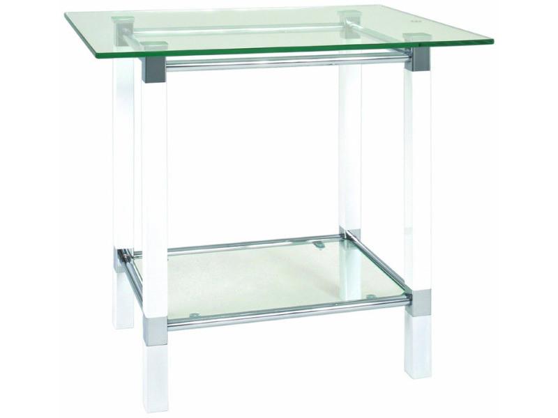 Table d'appoint blanc-chromé, l58 x h51 x p43 cm