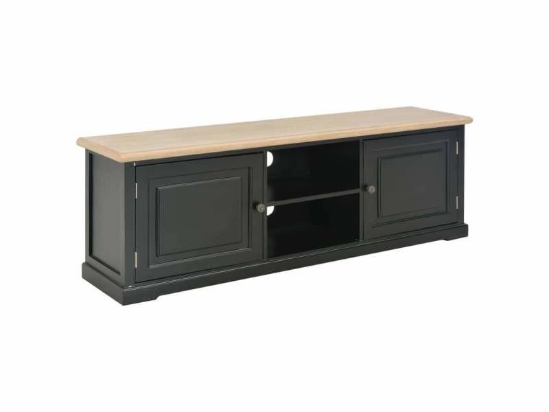 Meuble télé buffet tv télévision design pratique noir 120 cm bois helloshop26 2502205