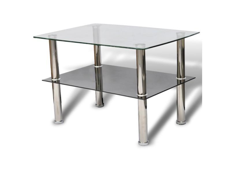 Table basse de salon design verre noir blanc 2 plateaux 65 x 45 cm helloshop26 0902029