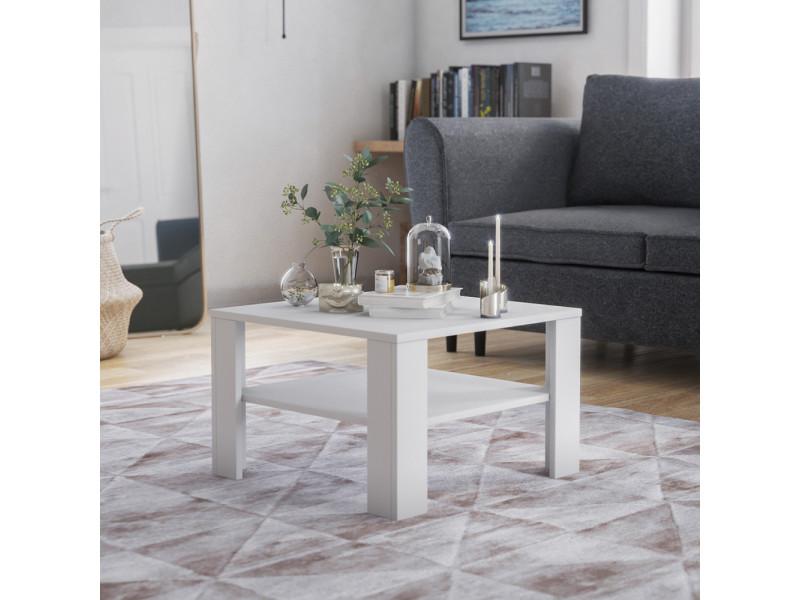 Table basse - crozier - 68x68 cm - blanc - style scandinave