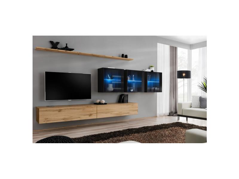 Ensemble mural - switch xvii - 3 vitrines led - 2 banc tv - 2 étagères - bois et noir - modèle 1
