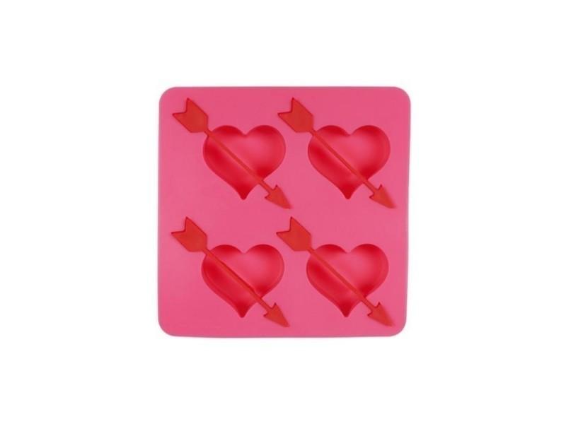 Moule à glaçons de coleur rose coeur