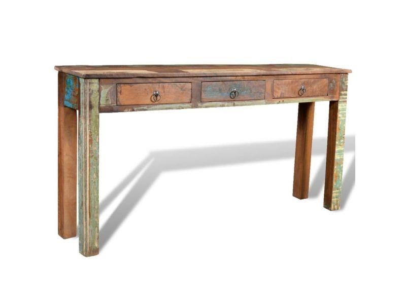 Vidaxl table console avec 3 tiroirs bois recyclé 241137