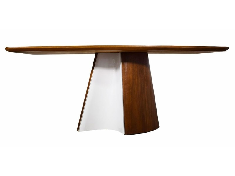 Table à manger bois flora - noyer - blanc