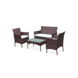 Ensemble de jardin en résine tressée, salon 4 places chocolat moltès fauteuil
