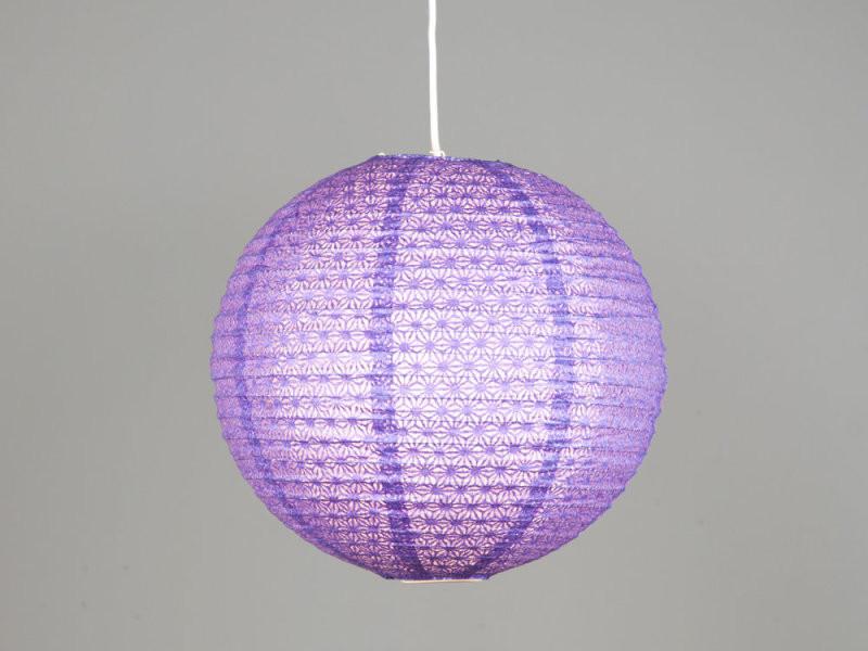 suspension boule japonaise en papier ajour violet vente de luminaire enfant conforama. Black Bedroom Furniture Sets. Home Design Ideas