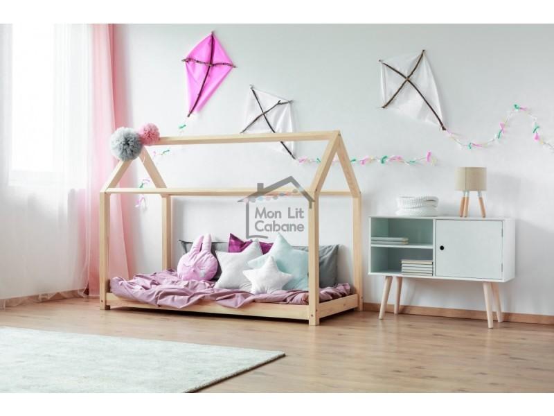 lit cabane bois massif sommier 90x190 vente de lit. Black Bedroom Furniture Sets. Home Design Ideas