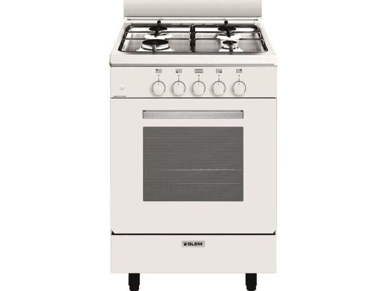 Cuisinière alpha 53 x 50 cm blanche/plan de cuisson inox - four tout ga glem - ga551gwh