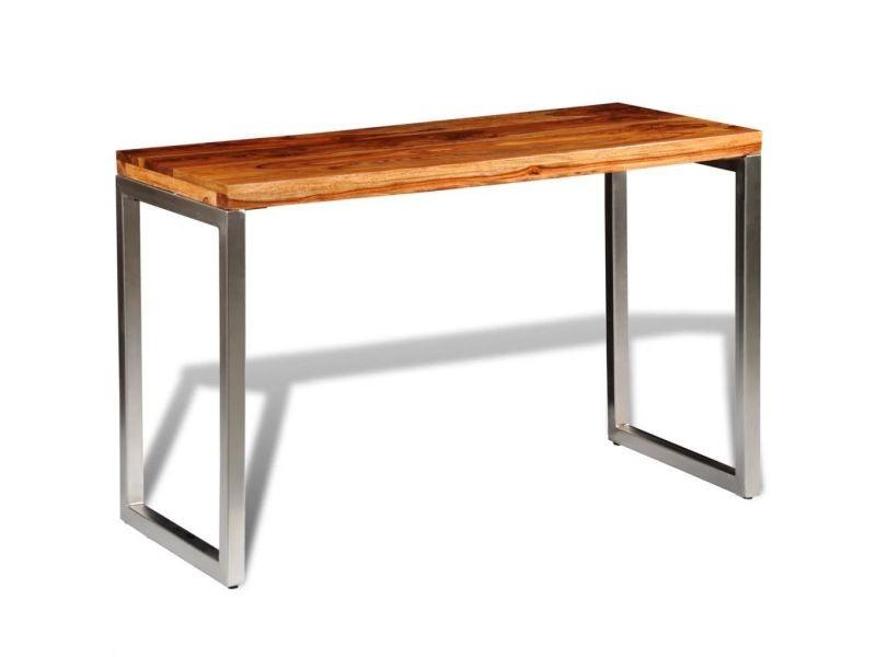 Table de salon salle à manger design et pieds en acier bois massif de sesham helloshop26 0902223