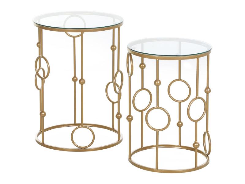 Tables gigognes lot de 2 tables basses rondes design style art déco ø 41 et ø 36 cm métal doré verre trempé 5 mm