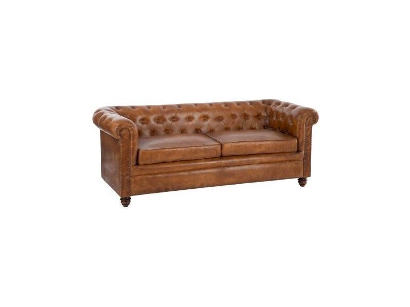 Sofa Chesterfield Cuir Cognac 65021 Vente De Canape Droit Conforama