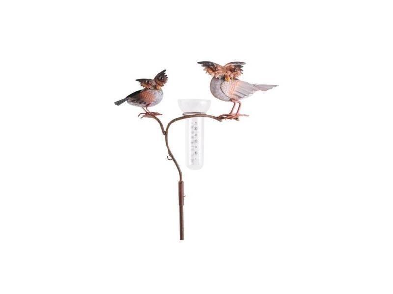Superbe pluviomètre à piquer tuteur plante décoration de jardin motif chouettes en fer patiné et tube en verre 17x36x135cm