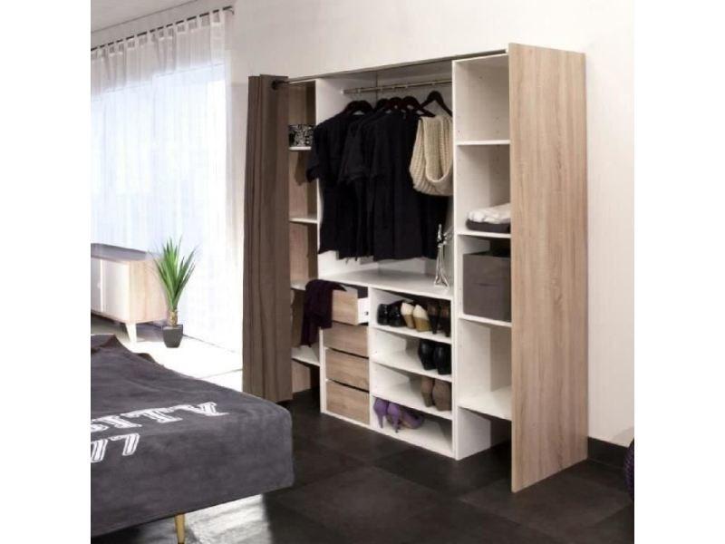 Dressing - kit amenagement de placard dress kit dressing extensible décor chene + rideau ...