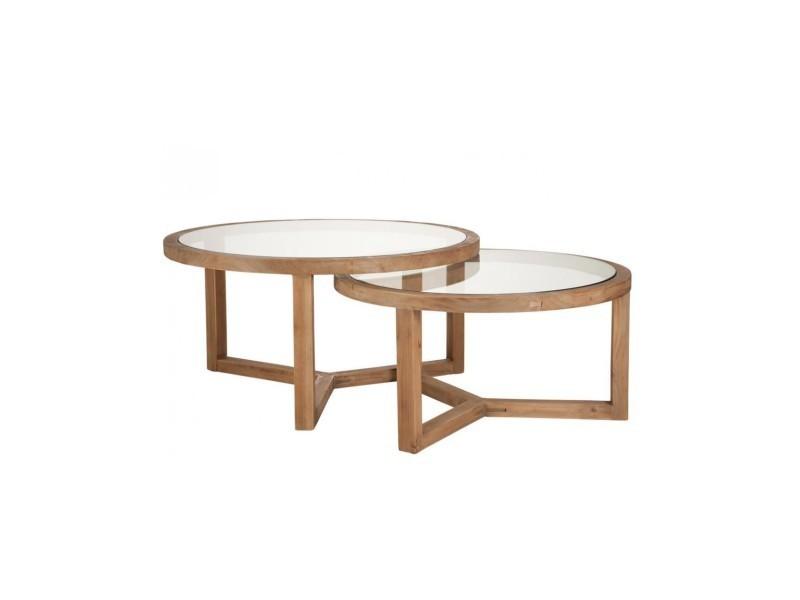 Table ronde bois + verre - 1 pièce modele s B72608