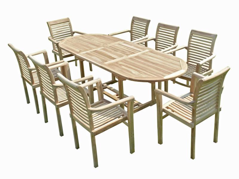 Ensemble salon de jardin en teck mahui 8 fauteuils ...