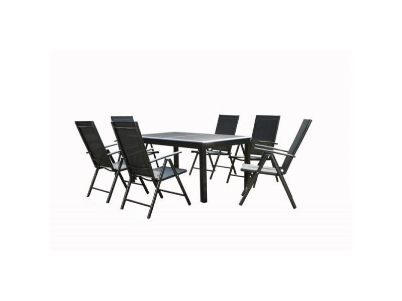 Ensemble table de jardin en aluminium gris anthracite avec rallonge ...