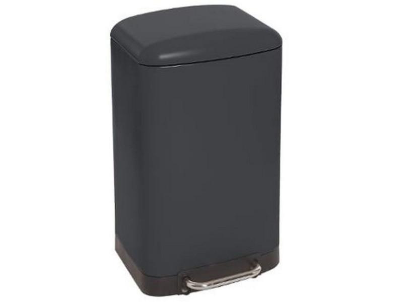 Poubelle rectangulaire à pédale coloris noir - 30 litres -pegane-