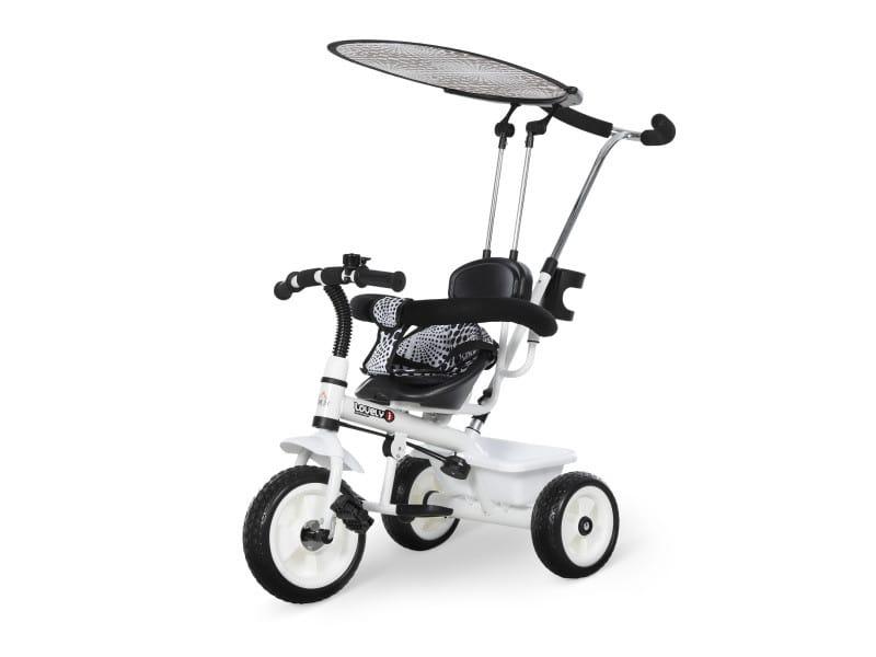 Tricycle enfants pare-soleil pliable canne amovible benne rangement 103 x 47 x 101 cm acier blanc et noir