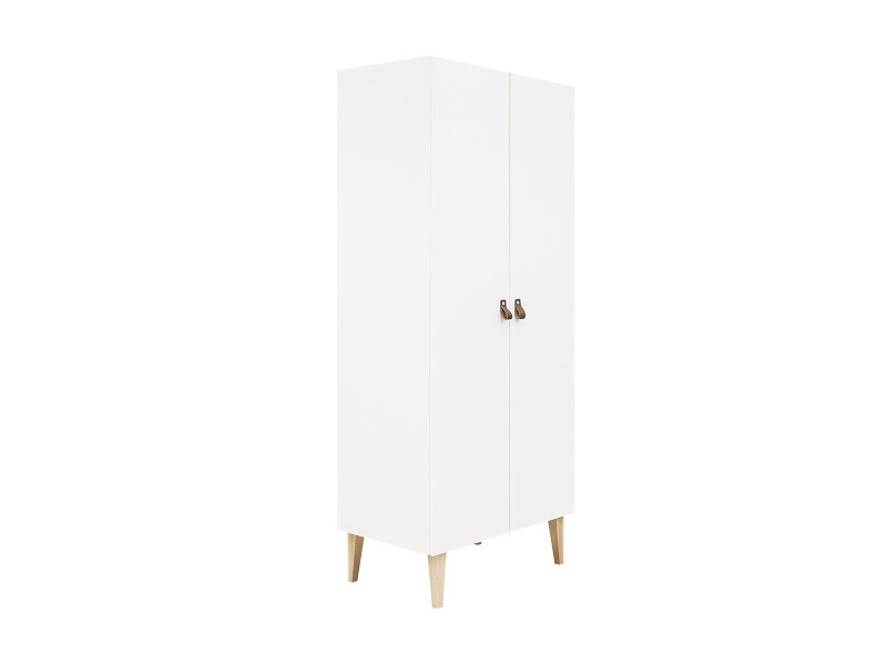 Armoire 2 portes indy - blanc et bois naturel