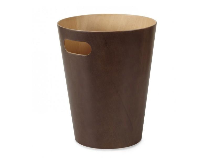Corbeille à papier de bureau en bois marron foncé woodrow umbra