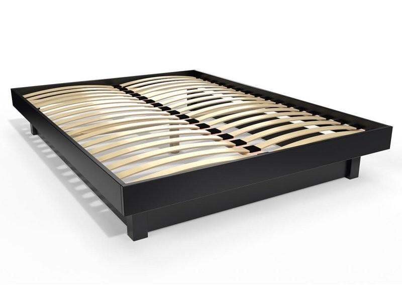 Lit plateforme bois massif pas cher 140x200 noir PLAT142-N