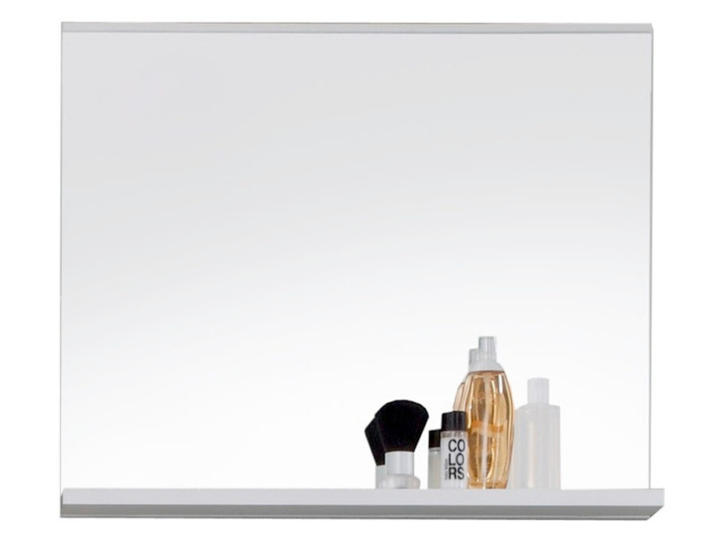 Miroir de salle de bain design avec tablette 60 cm coloris blanc p ...