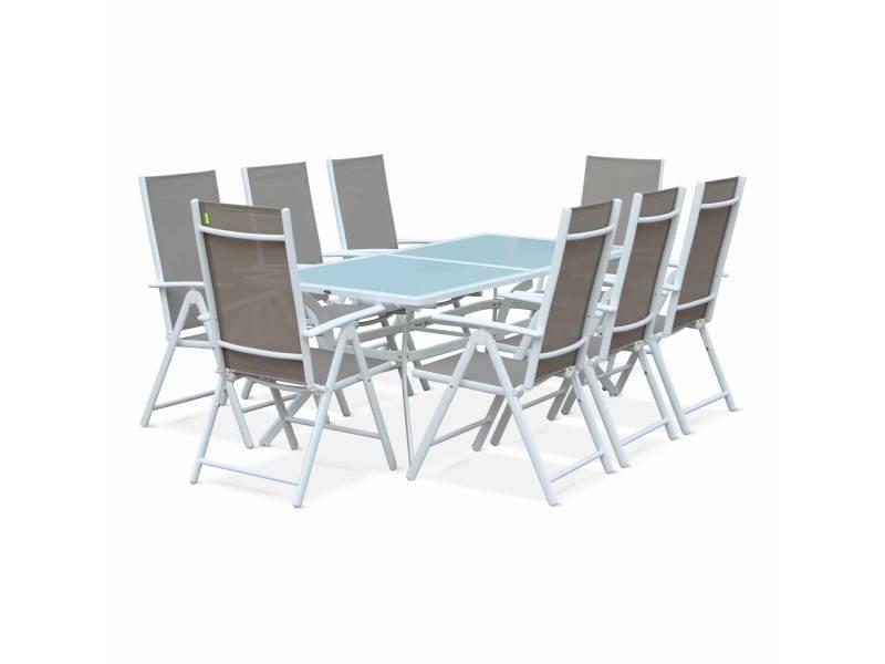 Salon de jardin en aluminium et textilène - naevia - blanc. Taupe - 8 places - 1 grande table rectangulaire. 8 fauteuils pliables