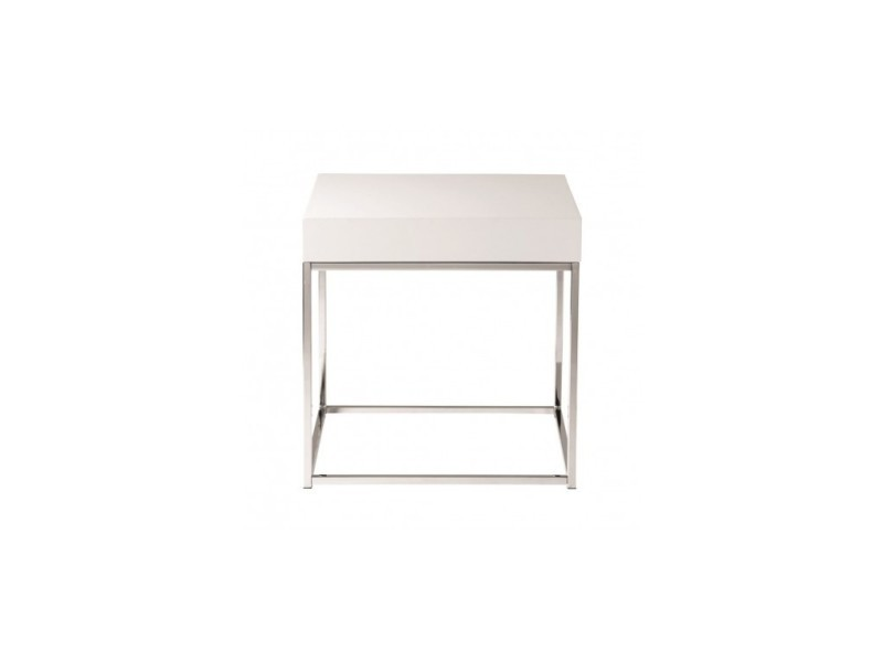 Table d'appoint plateau blanc laqué block