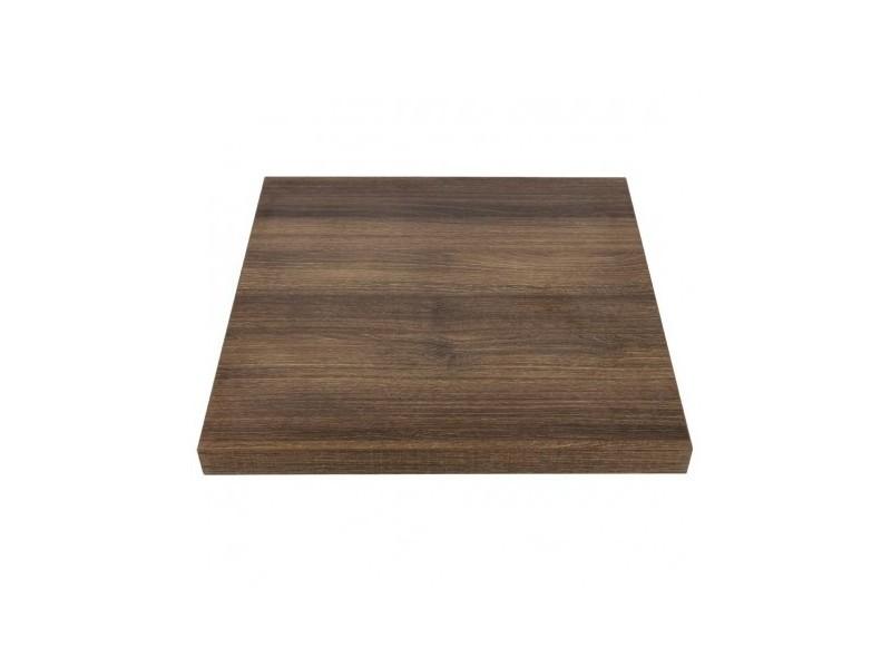 Plateau de table carré 700 mm effet bois chêne rustique - bolero