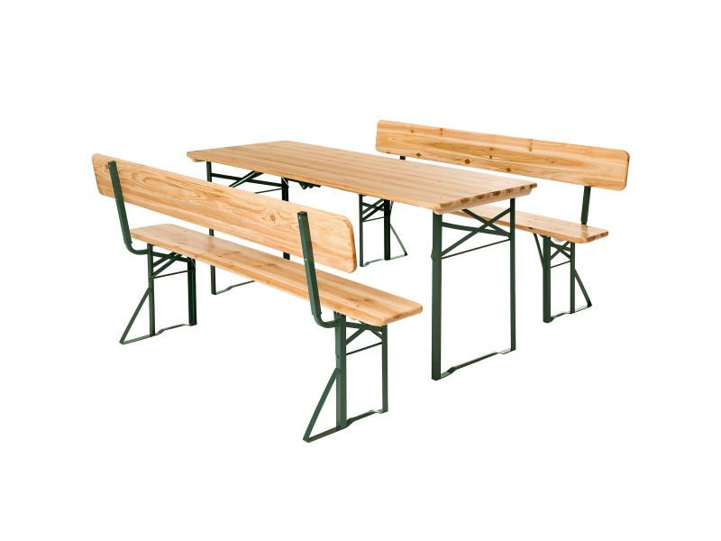Tectake table de jardin pliante 176 x 69 x 76 cm avec bancs 402503