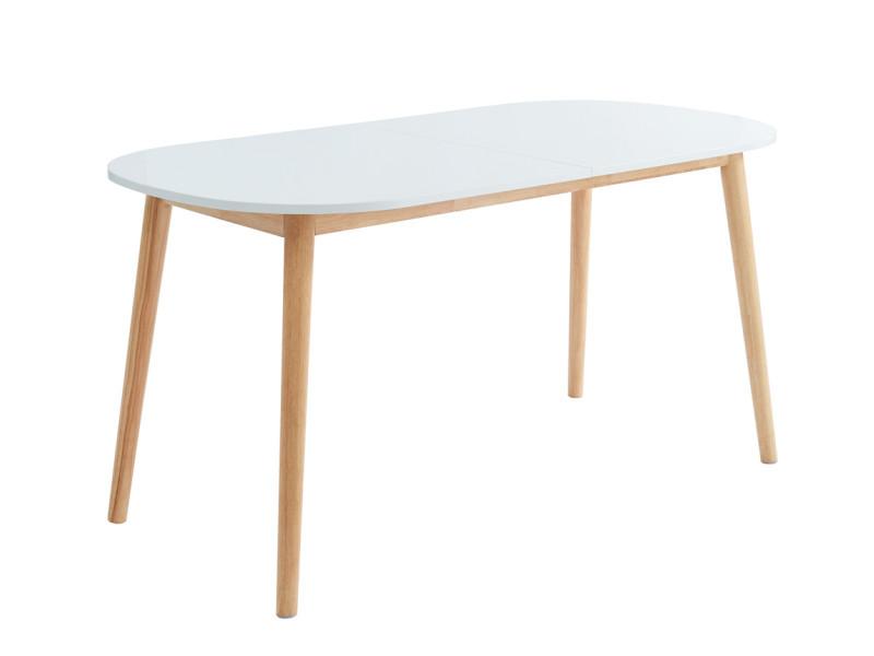 Table de séjour extensible scandinave coloris blanc mat en mdf et hévéa massif - dim : 160 à 200 x 80 x 75 cm -pegane-