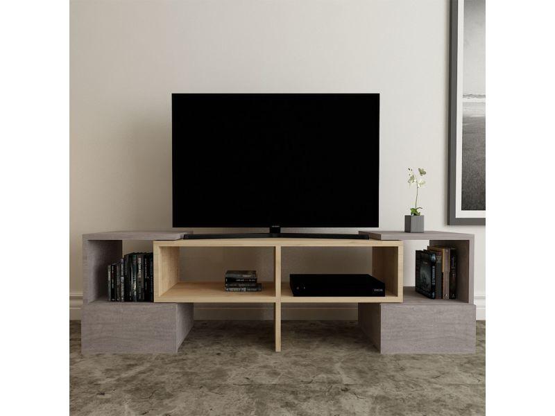 Meuble tv moderne fold - l. 141 x h. 39 cm - gris