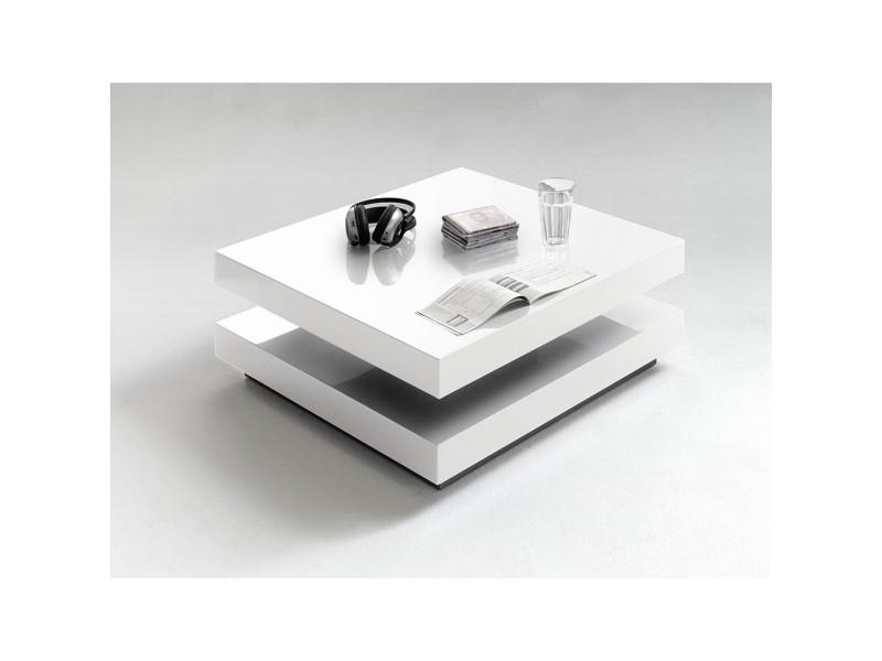 Table basse pivotant coloris blanc laqué brillant - l75 x h30 x p75 cm -pegane-