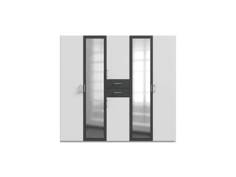 Armoire de chambre diver armoire de chambre grande capacité - décor blanc et graphite - l 225cm