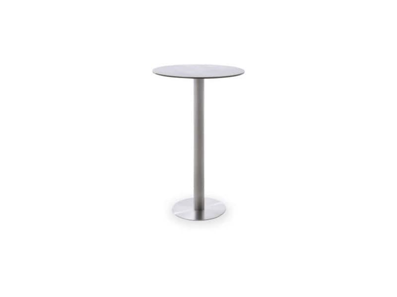 Table bar ronde avec plateau céramique gris avec piètement acier brossé - l65 x h105 x p65 cm -pegane-