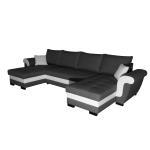 Canapé rodos panoramique reversible convertible avec coffre noir blanc