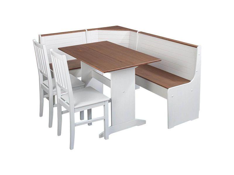 Lucain - angle repas complet bois massif avec 2 chaises