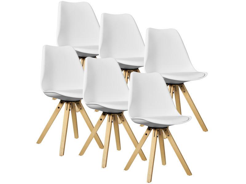 [en.casa] 6x chaise de design blanc rembourré salle à manger cuir synthétique cuisine