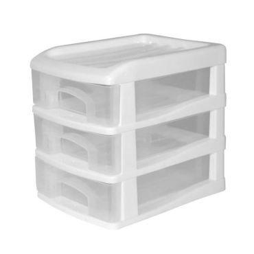 Tour de rangement homea organiseur avec 3 mini tiroirs plastique 13x17x15,5 cm blanc - Vente de ...